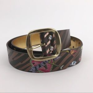 Accessories - Traditional Tattoo Print Brown & Gold Leather Belt